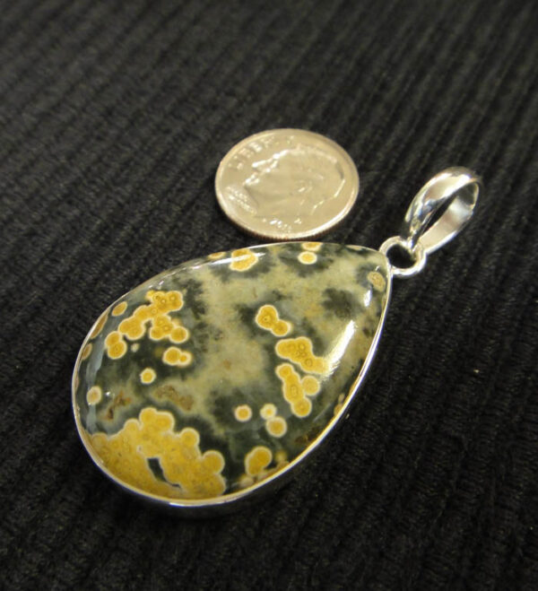 Green and yellow ocean jasper and sterling silver handmade pendant