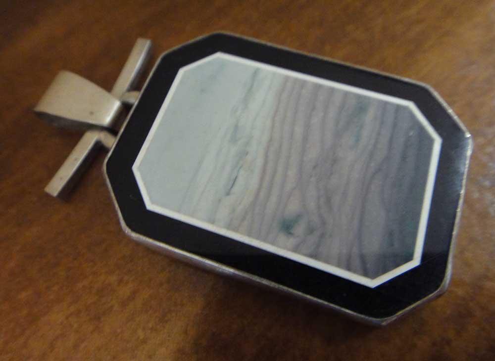 Handmade inlaid ocean wave jasper, jade, onyx, and silver pendant