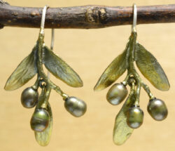 handmade Michael Michaud Olive dangle earrings