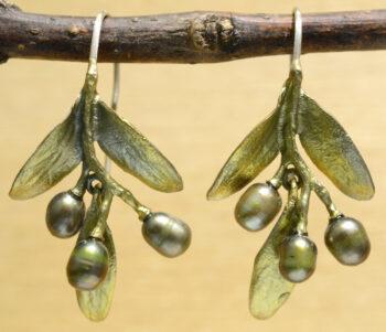 handmade Michael Michaud Olive dangle earrings