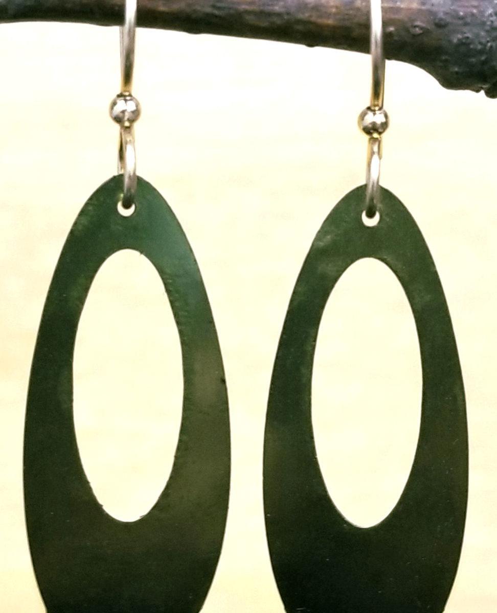 olive green long earrings