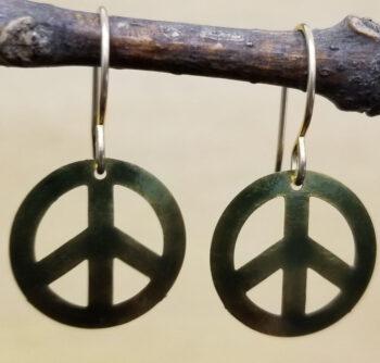 olive green peace sign dangle earrings by Joseph Brinton