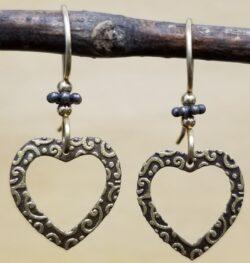 open heart earrings by Joseph Brinton