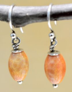 Handmade orange agate stone bead and sterling silver dangle earrings