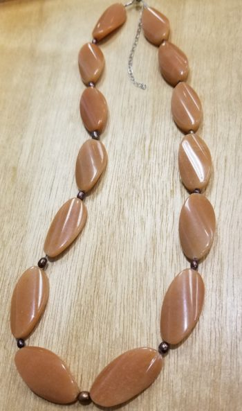 orange aventurine and chocolate brown pearl necklace