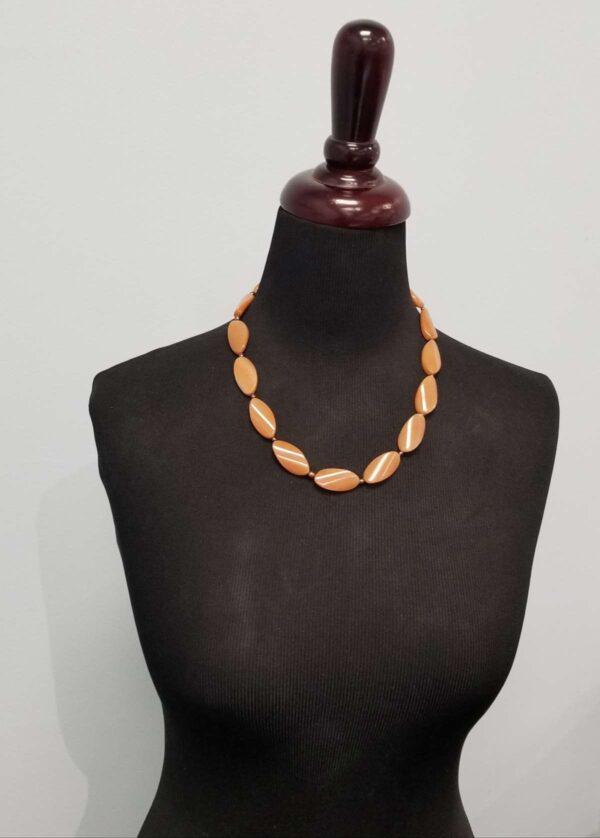 orange aventurine with chocolate pearl necklace