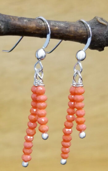 bright orange beaded earrings