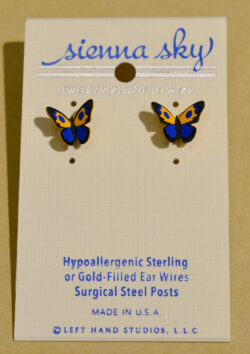Sienna Sky orange and blue butterfly post earrings