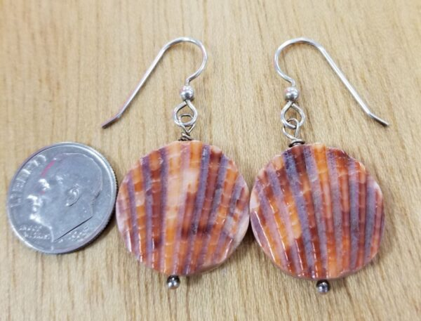 orange sea shell earrings with dime for scale