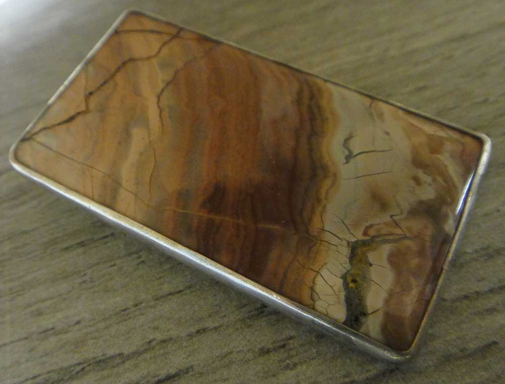 handmade rectangular orsk jasper and sterling silver pendant by Dale Repp