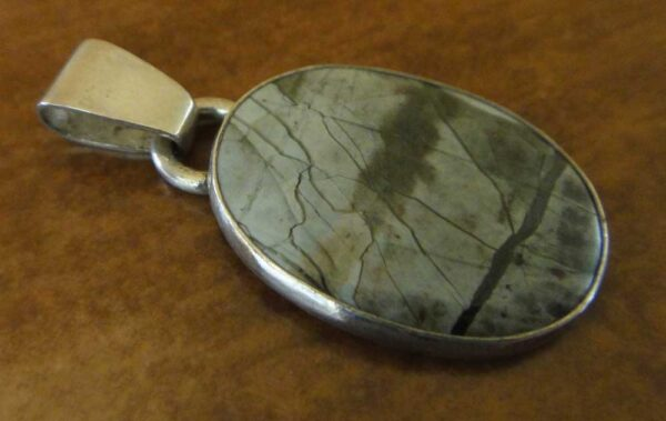 handmade Orsk jasper and sterling silver oval pendant by Dale Repp