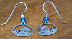 gray and blue sea otter dangle earrings by Sienna Sky