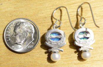 Blue opal, freshwater pearl, sterling silver earrings back view