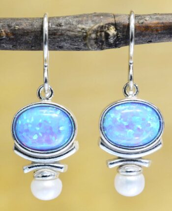 Handmade blue opal, freshwater pearl, and sterling silver earrings