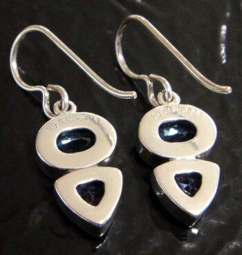 Back of handmade blue topaz and tanzanite CZ earrings