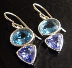 These blue topaz and tanzanite CZ earrings are handmade by Sonoma Art Works.