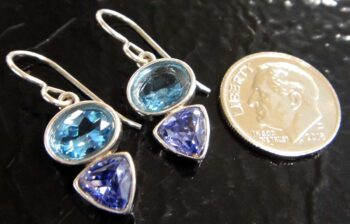 These blue topaz and tanzanite CZ earrings are handmade by Sonoma Art Works (pictured with dime for scale).