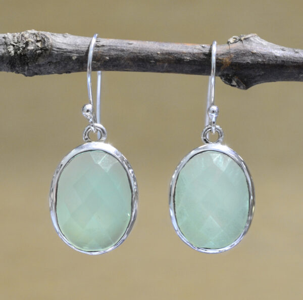 handmade oval faceted chalcedony drop earrings