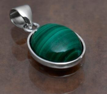 handmade green malachite oval petite pendant