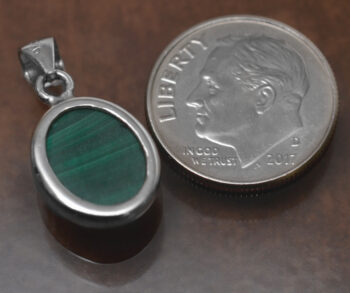 back of petite green malachite pendant with dime