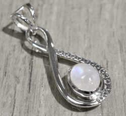 rainbow moonstone and sterling silver twist pendant