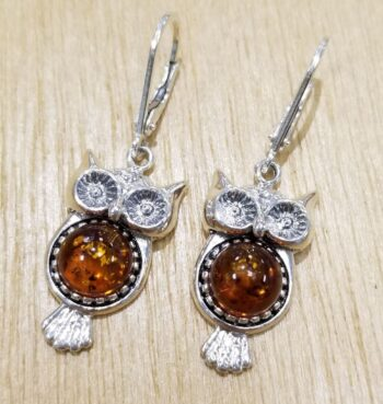 Baltic amber and sterling silver owl earrings