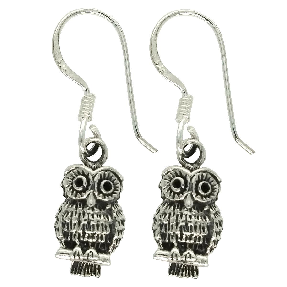 petite sterling silver owl dangle earrings