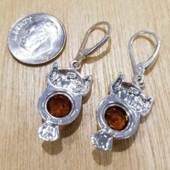 back of Baltic Amber owl earrings