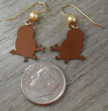 back of brown owl on branch Sienna Sky dangle earrings with dime