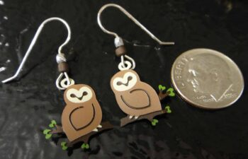 Sienna Sky Barn Owl dangle earrings, shown with dime (not included) for scale