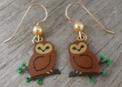 brown owl on branch Sienna Sky dangle earrings