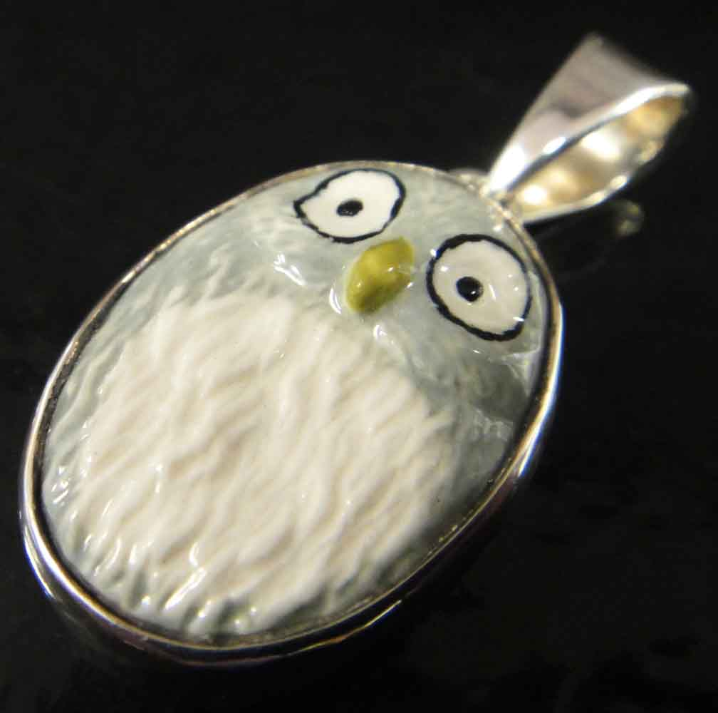 gray porcelain owl and sterling silver pendant