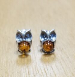 owl sterling silver amber stud earrings