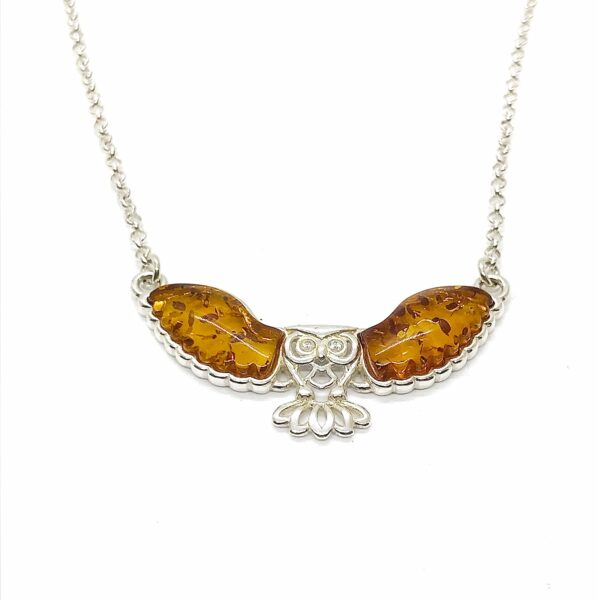 Sterling silver owl necklace with amber wings