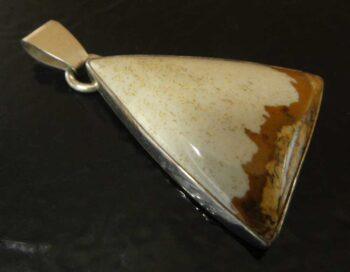 handmade Owyhee jasper and sterling silver triangular pendant by Dale Repp
