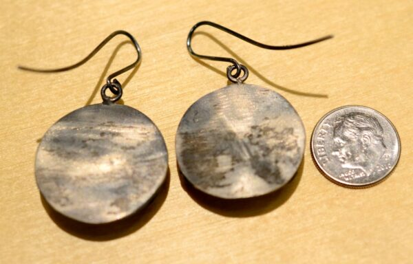 Handmade white cubic zirconia and oxidized sterling silver earrings back view shown with dime (not included) for scale