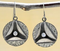 Handmade white cubic zirconia and oxidized sterling silver earrings