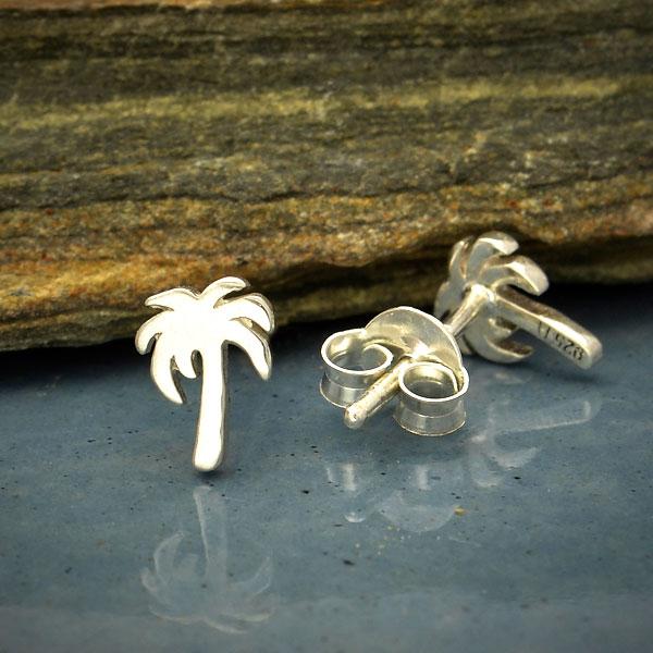 palm tree sterling silver petite post earrings