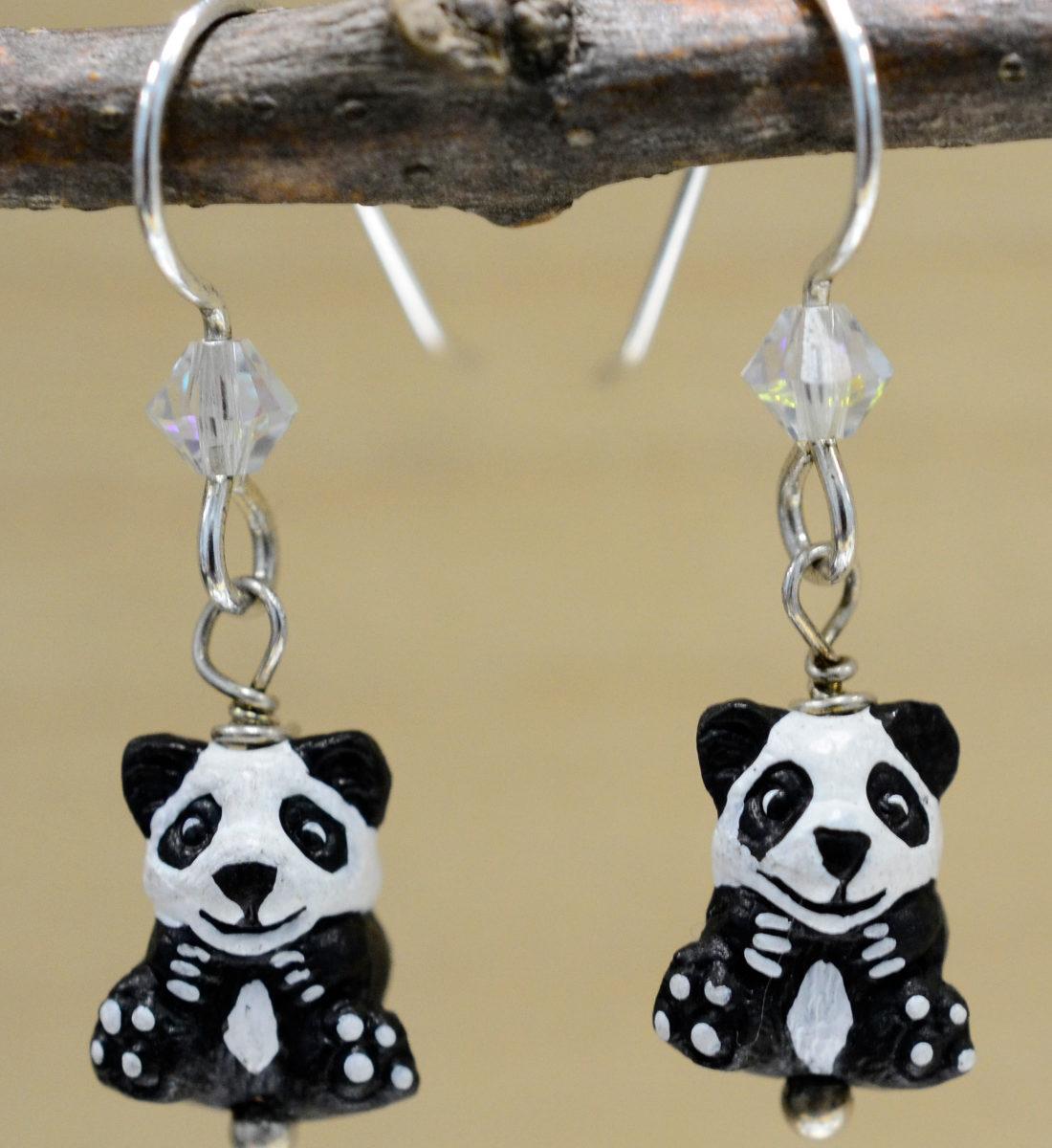 handmade ceramic panda bead dangle earrings
