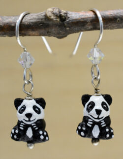 handmade ceramic panda bead dangle earrings