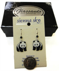 black and white giant panda Sienna Sky dangle earrings