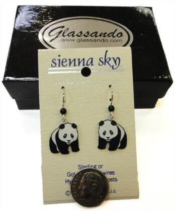 black and white giant panda Sienna Sky dangle earrings