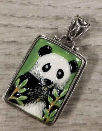 Porcelain Panda and sterling silver pendant