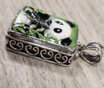 side of porcelain panda pendant