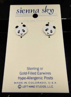 These panda stud earrings are handmade by Sienna Sky.