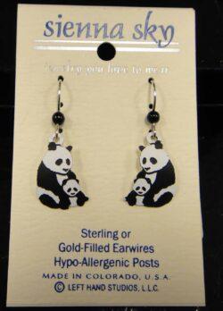 These panda bear dangle earrings are handmade by Sienna Sky.