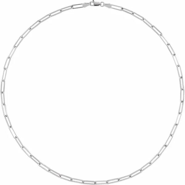 sterling silver long flat link chain