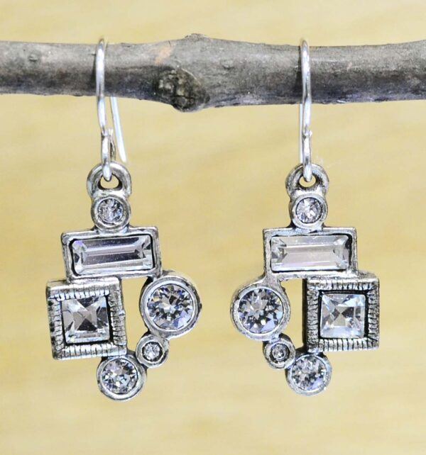 """Park Avenue drop silver tone earrings in color """"All Crystal"""" by Patricia Locke"""