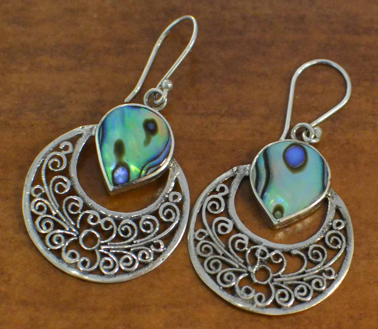 Paua shell and sterling silver filigree earrings