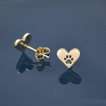 paw print on sterling silver heart post earrings